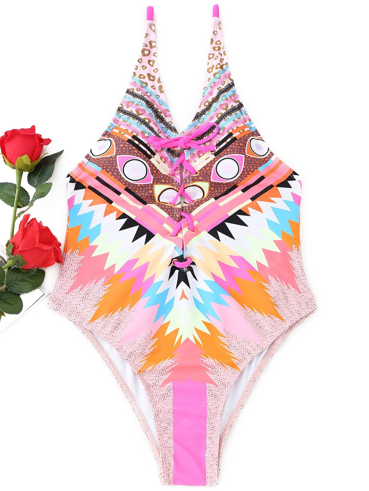 Colorful Lace-up One Piece Swimsuit