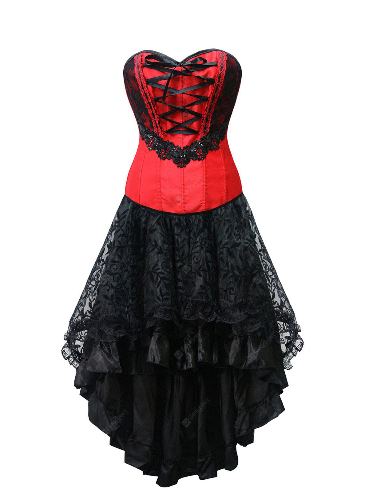 Strapless Lace Up High Low Corset Dress