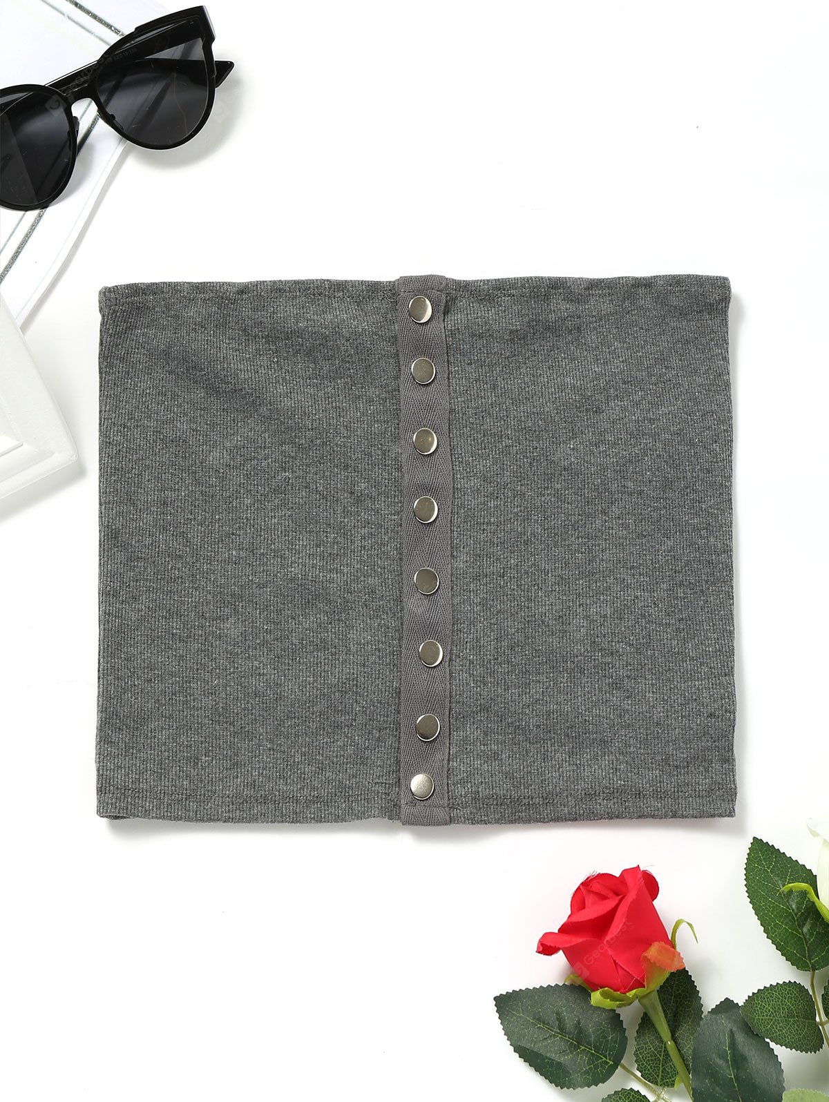 Snap Button Knitted Tube Top