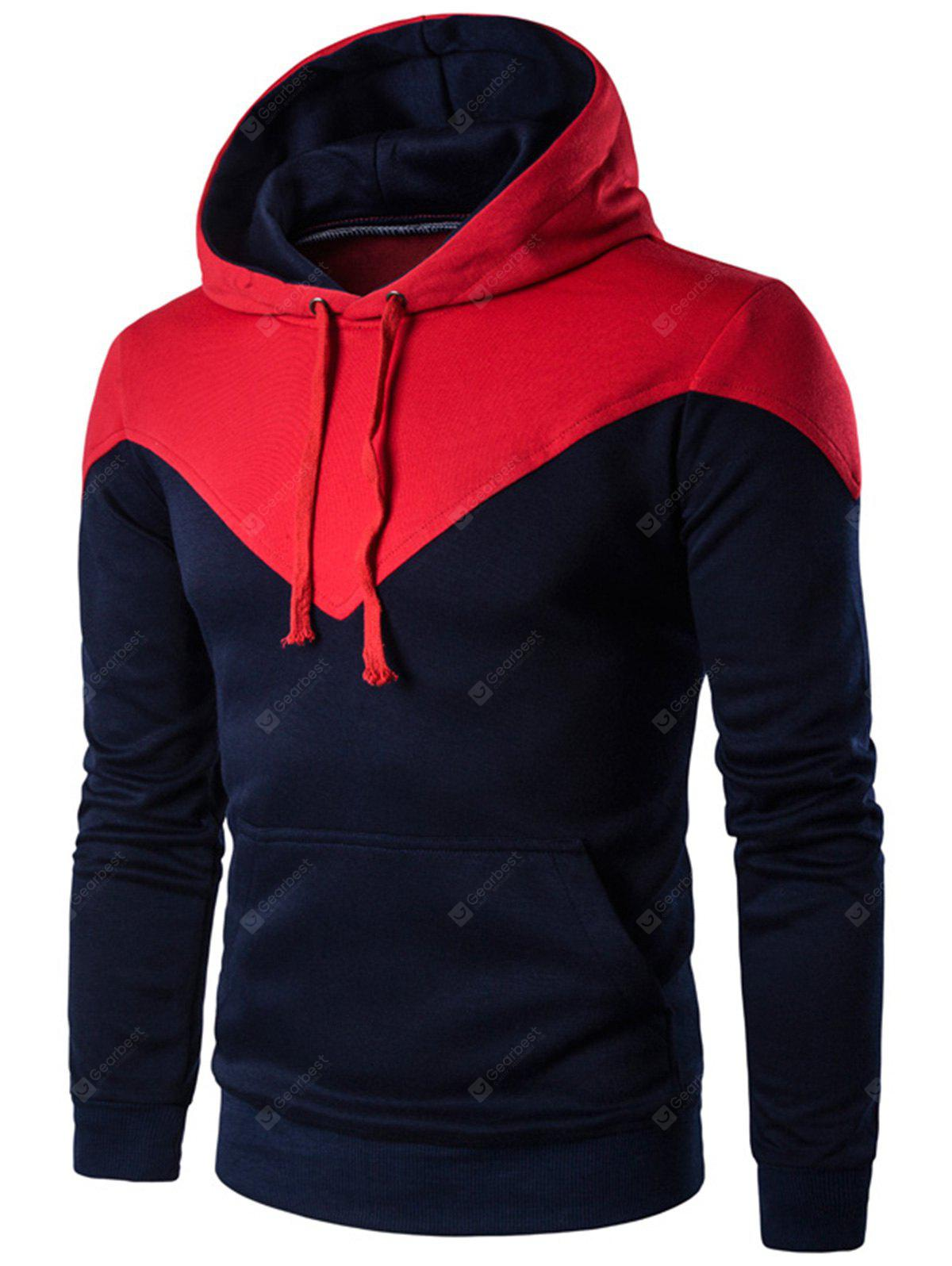 Color Block Pouch Pocket Pullover Hoodie