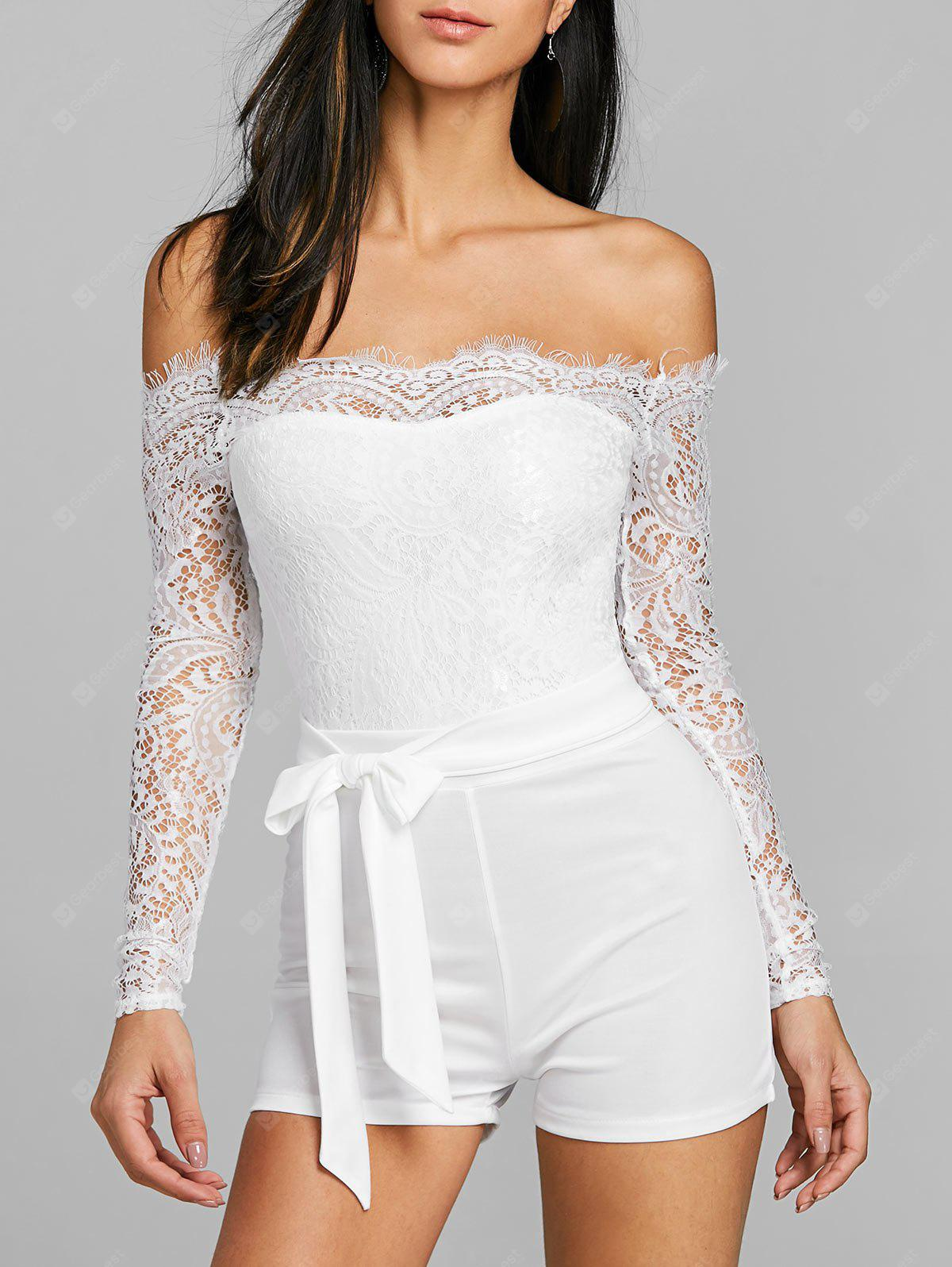 Lace Off The Shoulder Strampler mit Gürtel