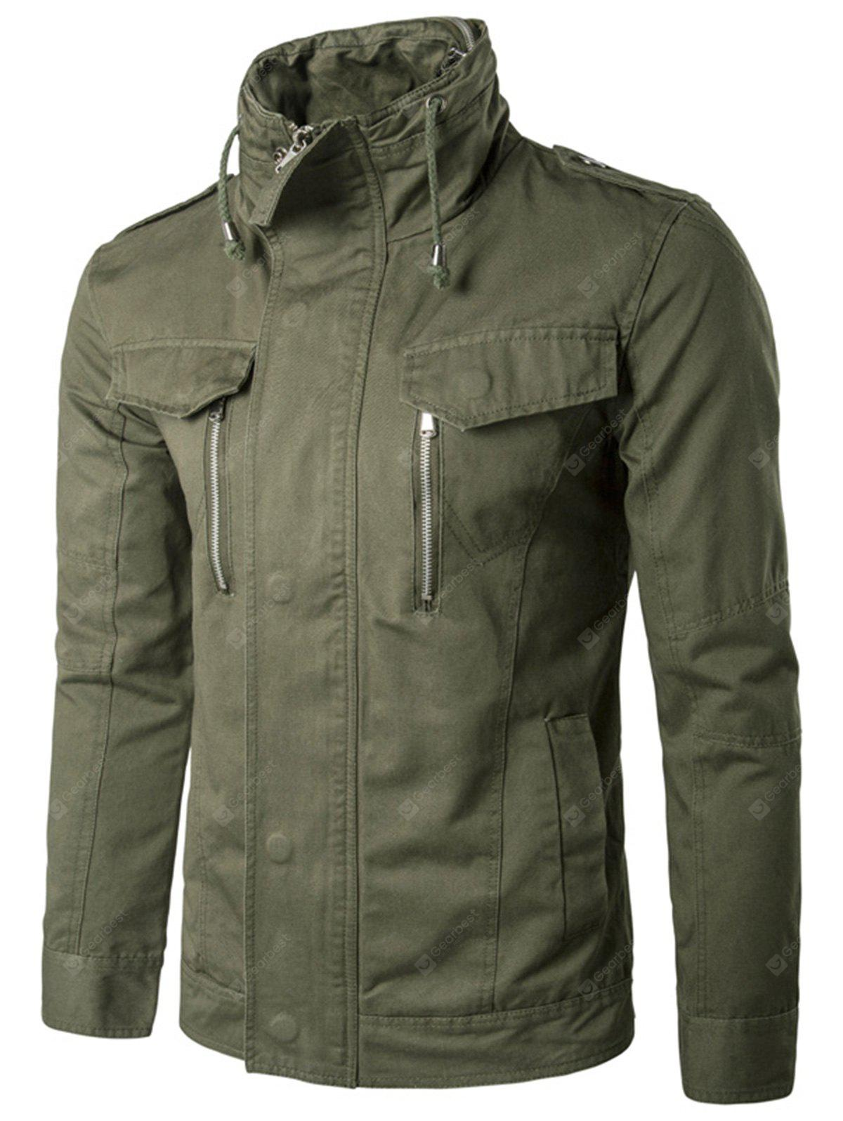 Stand Collar Drawstring Zip Up Cargo Jacket