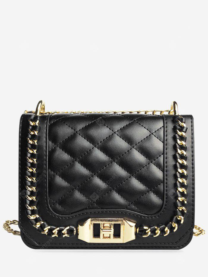 Quilted Chain Twist Lock Crossbody Bag
