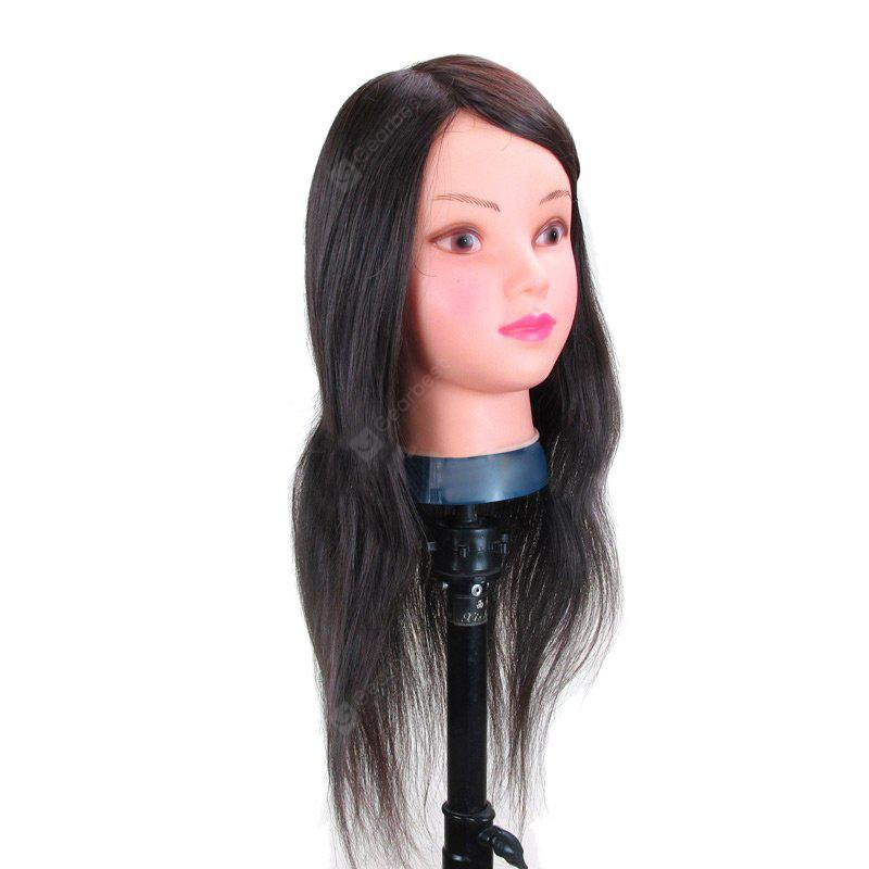 Long Side Parting Straight Synthetic Wig Hairdressing Training Head