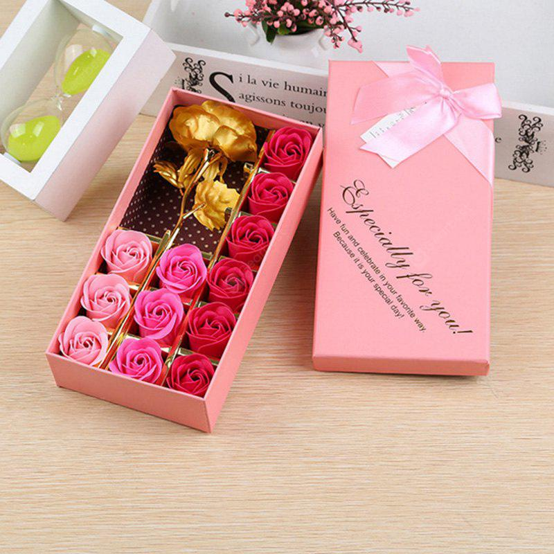 12Pcs Soap Roses and 1Pc Gold Leaf Artificial Flower with Box