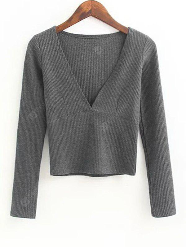 Ribbed V Neck Knitted Top