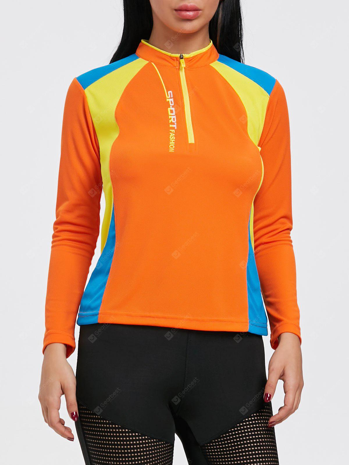 Hit Color Half Zip Cycling T-shirt