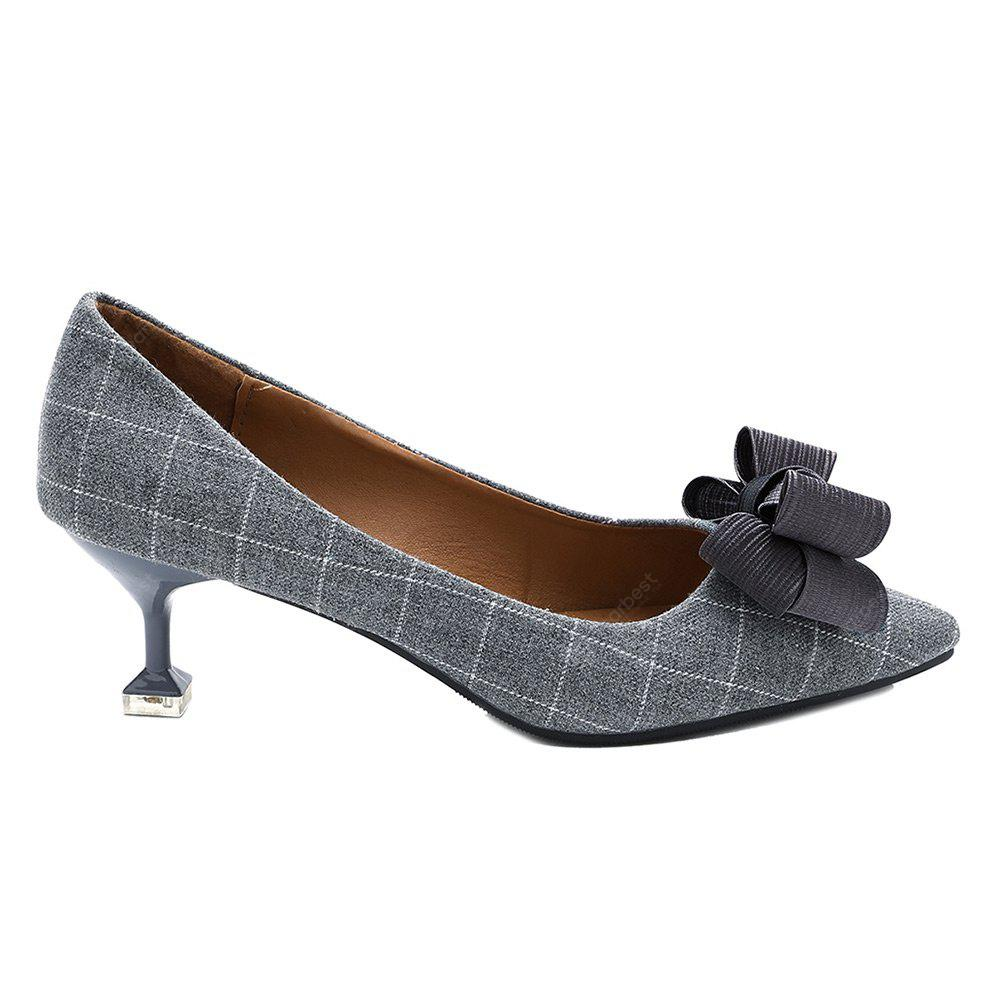 Strange Heel Checked Bow Pumps
