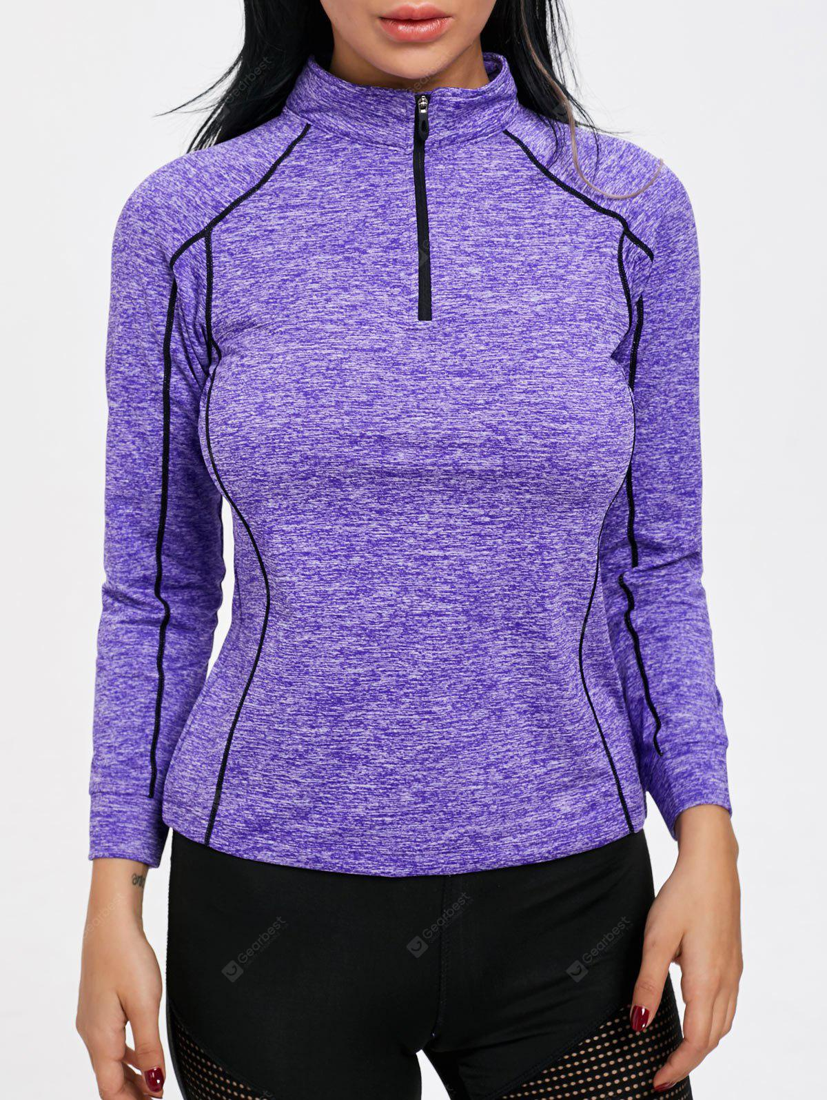 Contrast High Neck Half Zip Sports T-shirt