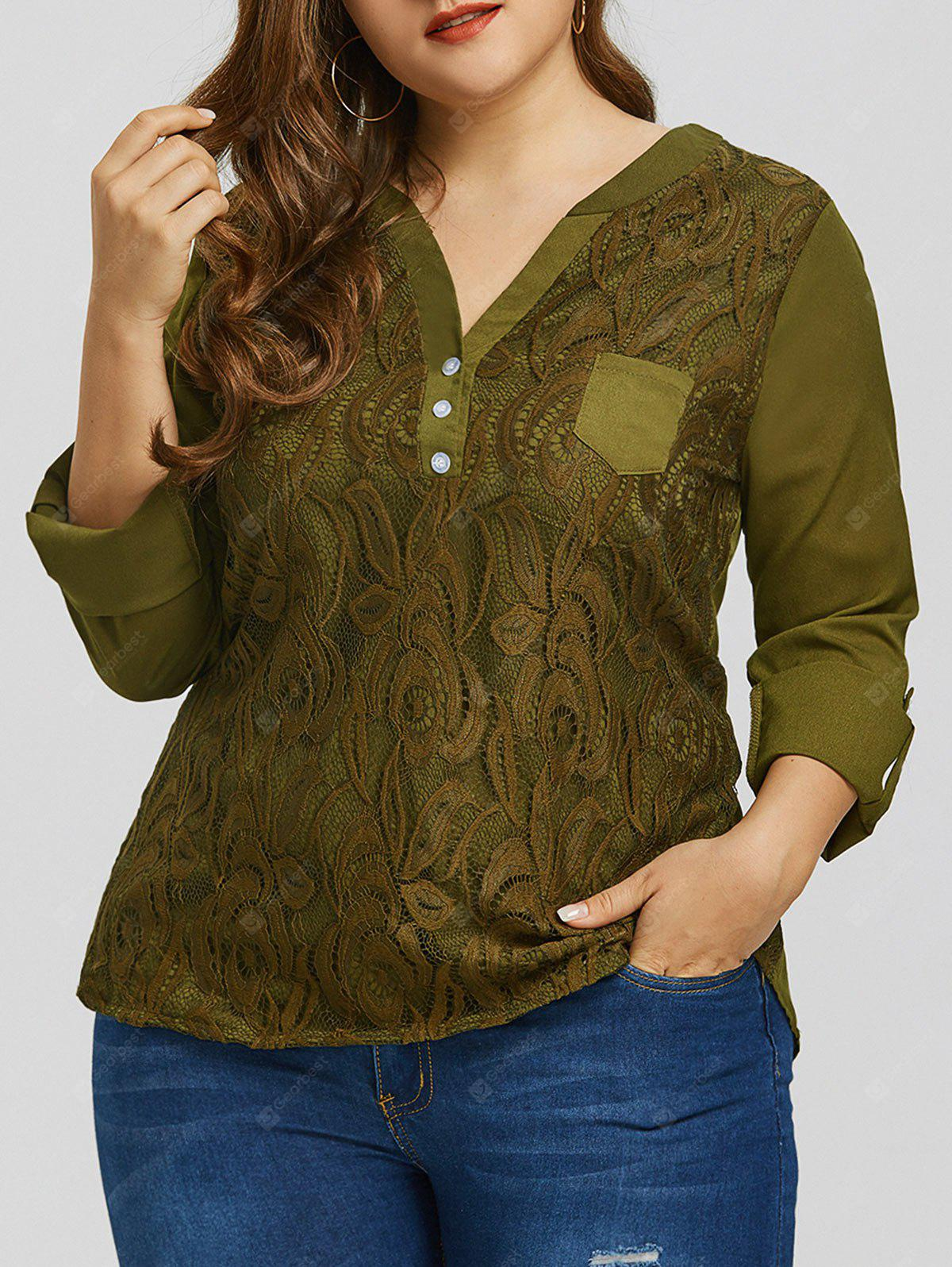 Plus Size Lace High Low Pocket Blouse