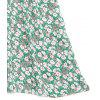 Off Shoulder Floral Tiered Ruffles Blouse - GREEN