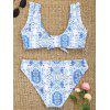 Floral Ruffles Tied Bikini Set - BLUE AND WHITE