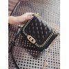 Quilted Chain Twist Lock Crossbody Bag - BLACK