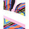 Halter Colorful Chevron String Bikini Set - COLORMIX