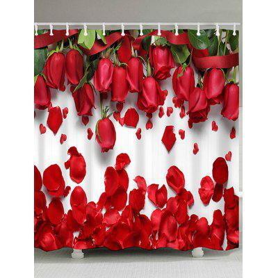 Valentine's Day Home Decor Red Rose Waterproof Shower Curtain