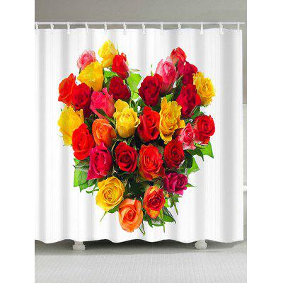 Valentine's Day Heart Roses Printed Waterproof Shower Curtain