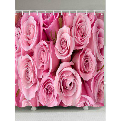 Romantic Pink Rose Printed Waterproof Shower Curtain