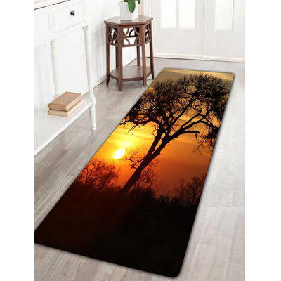 Sunset Tree Print Flannel Antiskid Bath Rug