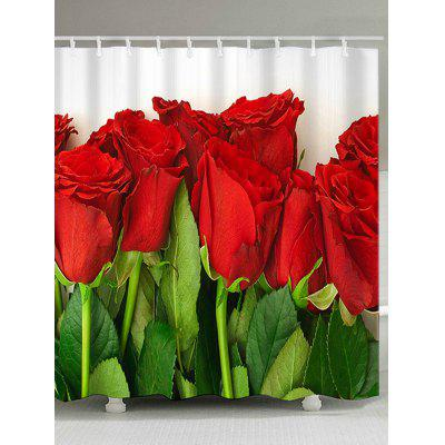 Valentine's Day Red Roses Printed Dustproof Shower Curtain with Hooks