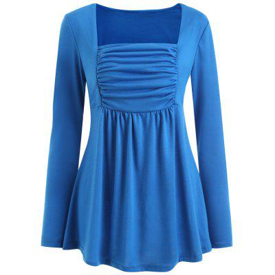 Long Sleeve Ruched Square Collar Blouse