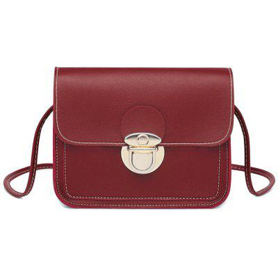 Faux Leather Stitching Flap Crossbody Bag