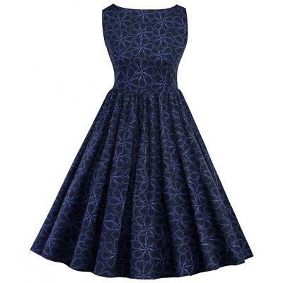 Buy PEARL INDIGO BLUE XL Sleeveless Floral Print A Line Swing Dress for $26.97 in GearBest store