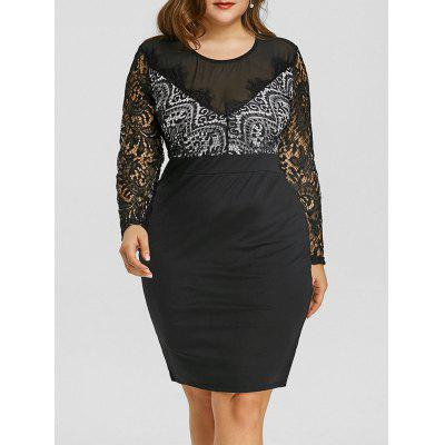 Плюс Размер Sheer Mesh Lace Panel Dress