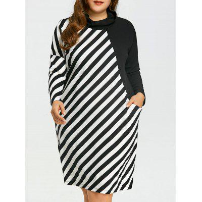 Robe T-shirt Rayée Contrastante Grande Taille