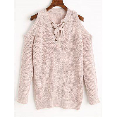 Cold Shoulder Lace Up Chunky Sweater