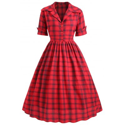 Plus Size Checked Shirt Collar Vintage Dress