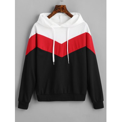 Drop Shoulder Contrast Drawstring Hoodie