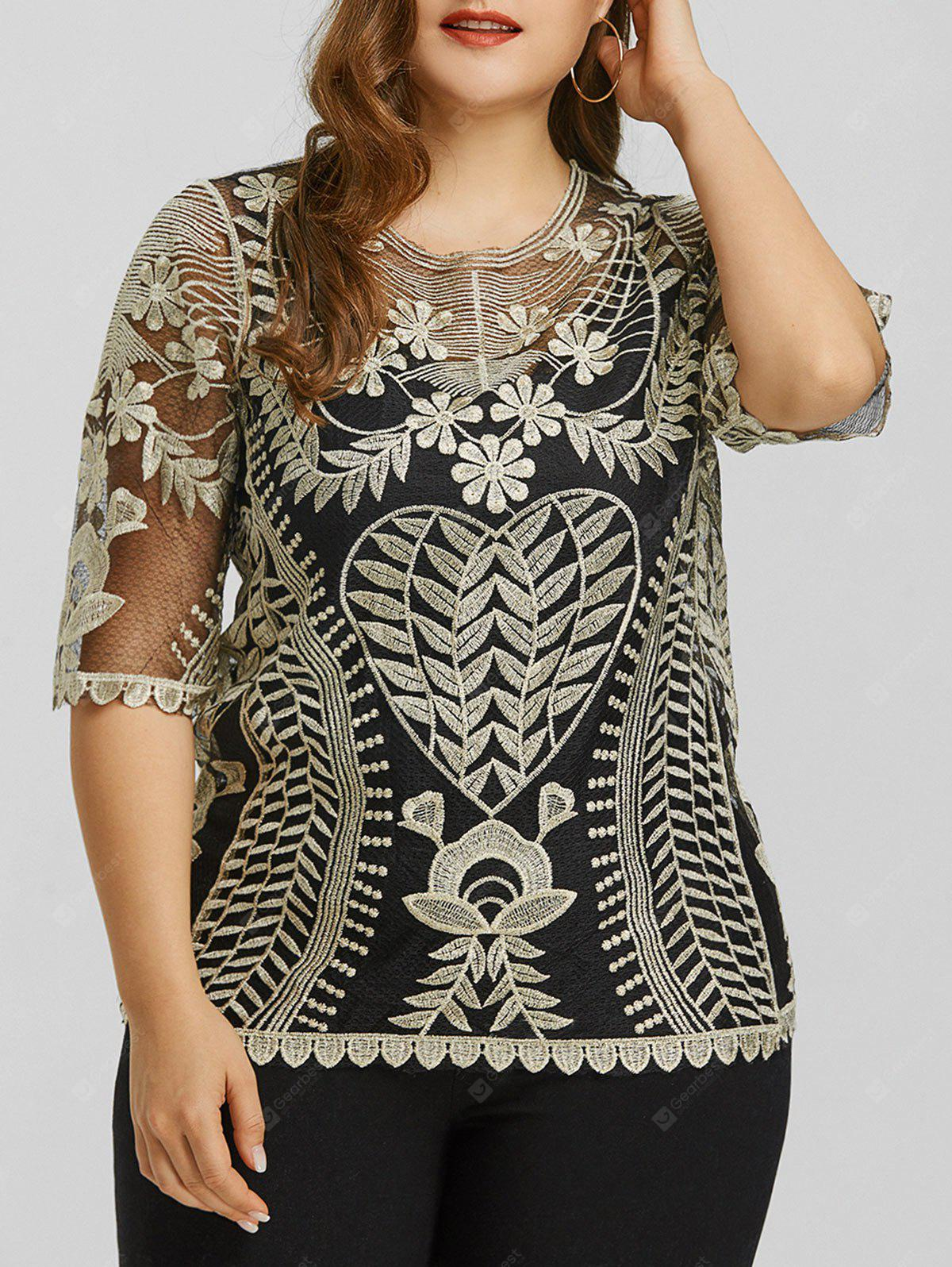 Plus Size Sheer Lace Scalloped Top