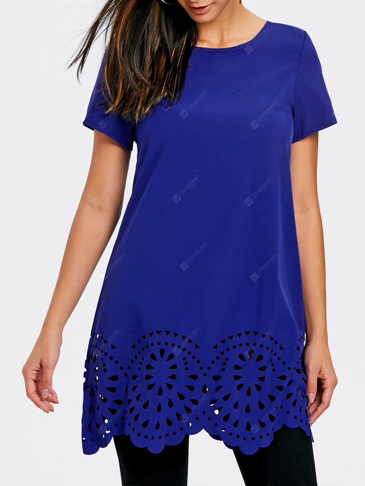 Openwork Scalloped Edge Tunic T-shirt