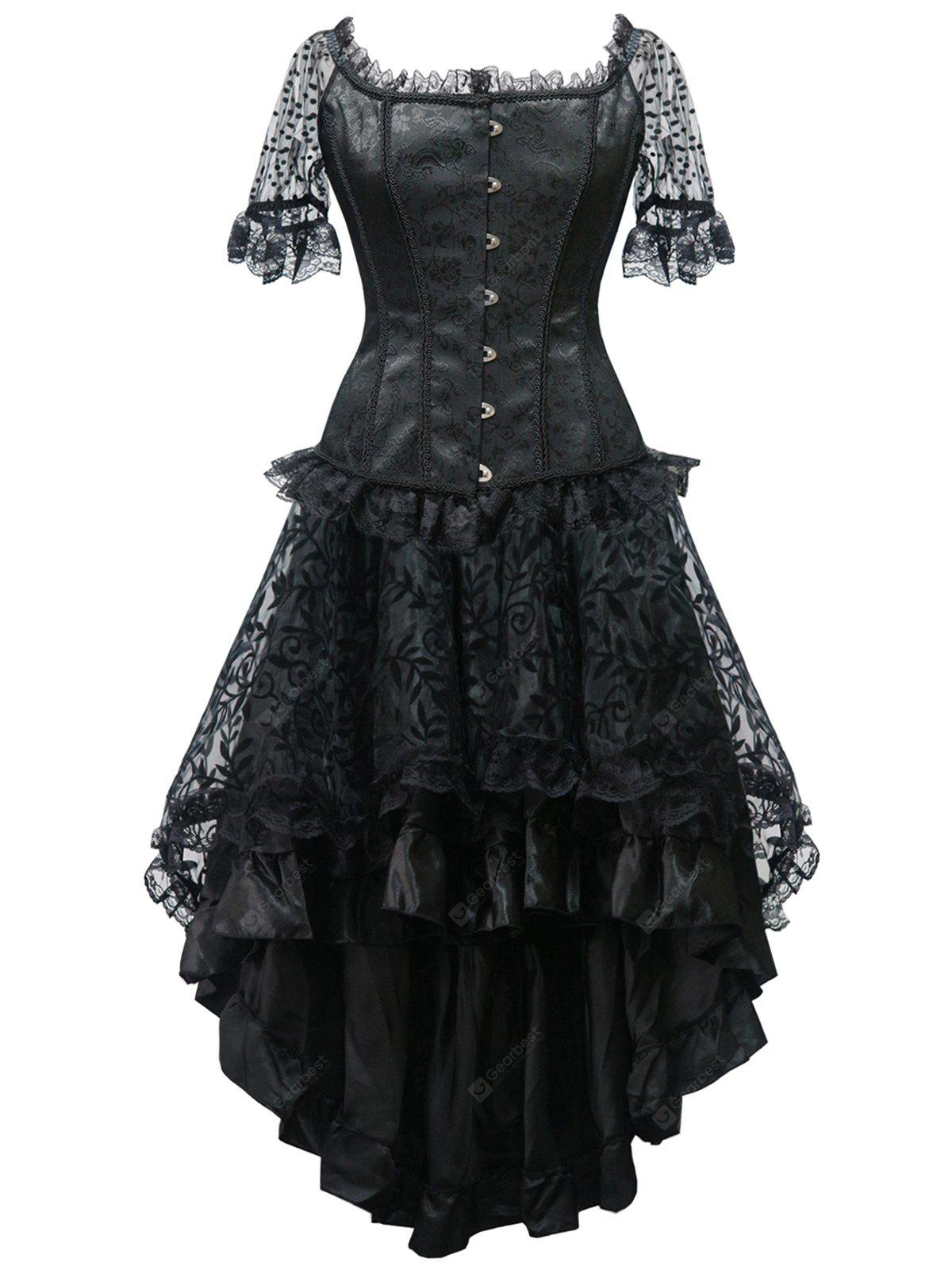 Lace Panel Steel Boned Corset Party Dress
