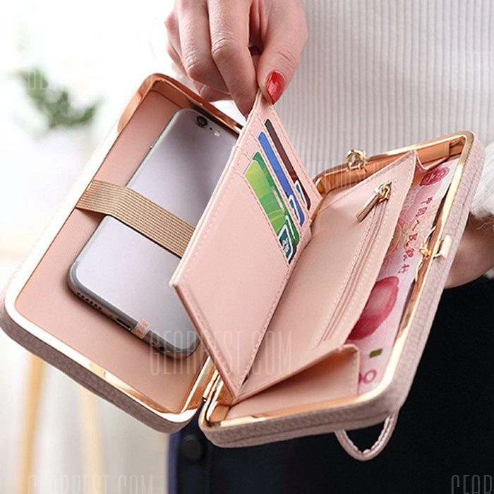 Gearbest Bowknot PU Leather Clutch Wallet - PINK