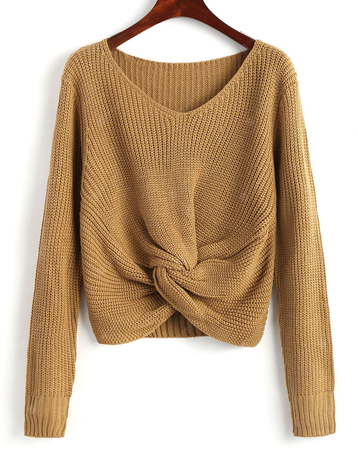 Twist V Neck Chunky Sweater