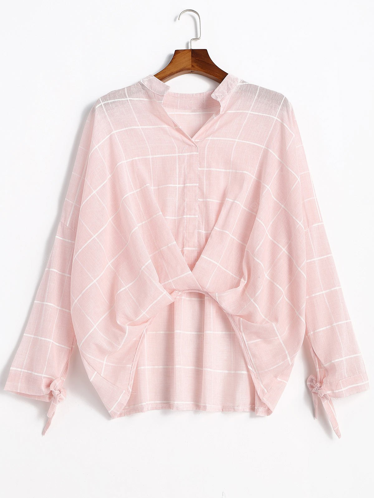 Long Sleeve Gathered Gingham Blouse