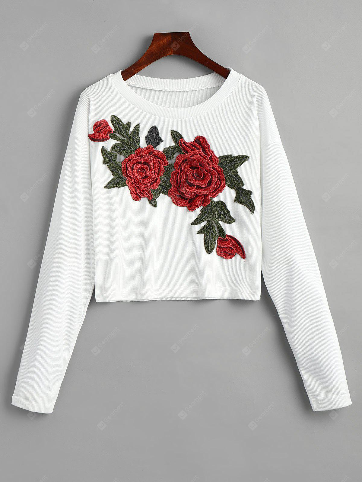 Ribbed Floral Applique Cropped T-shirt