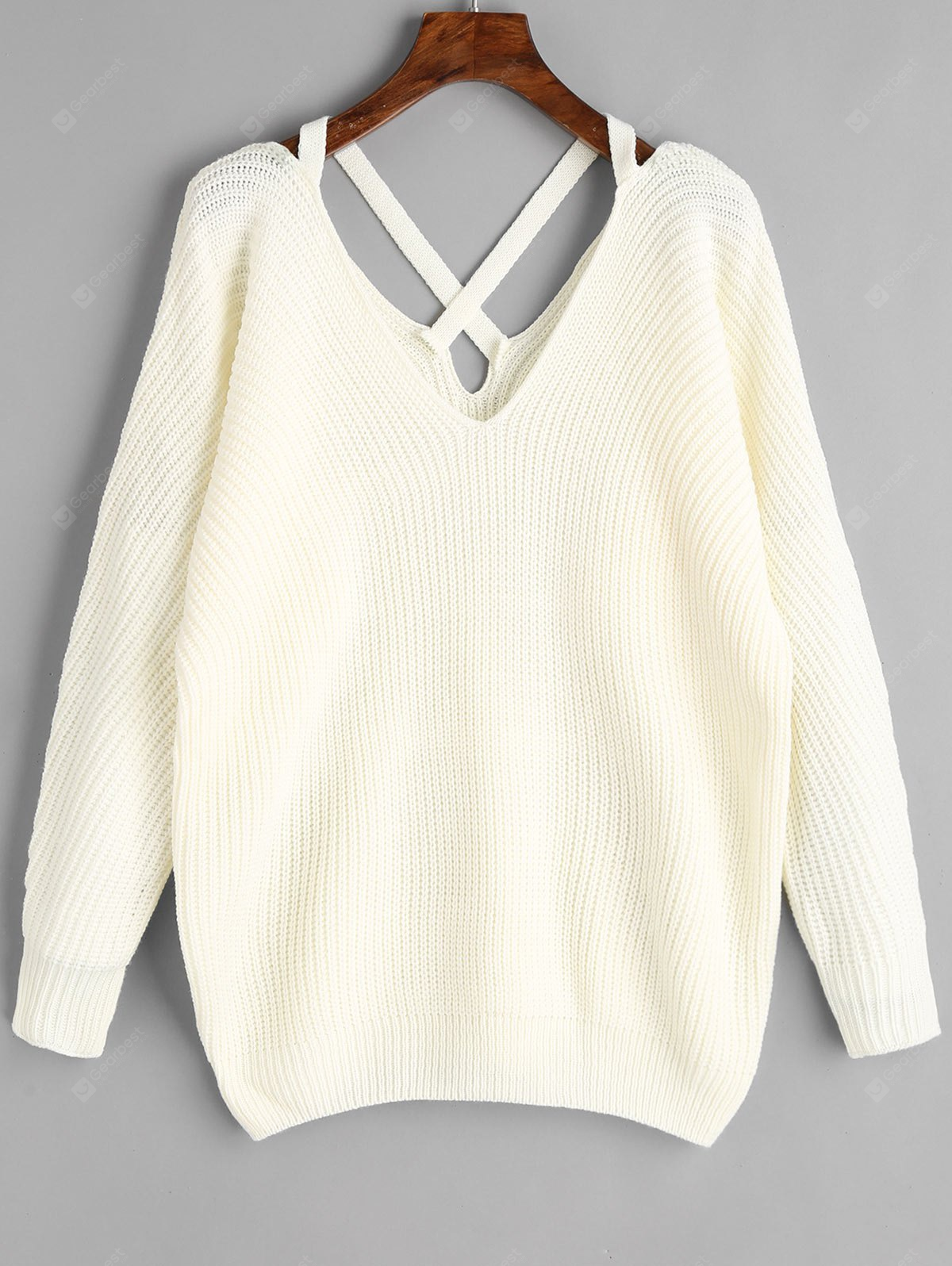 Criss Cross V Neck Pullover Sweater