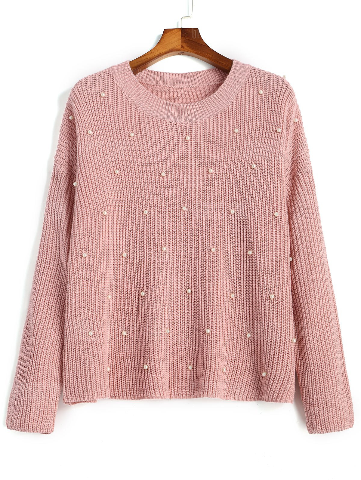 Faux Pearls Oversized Pullover Sweater