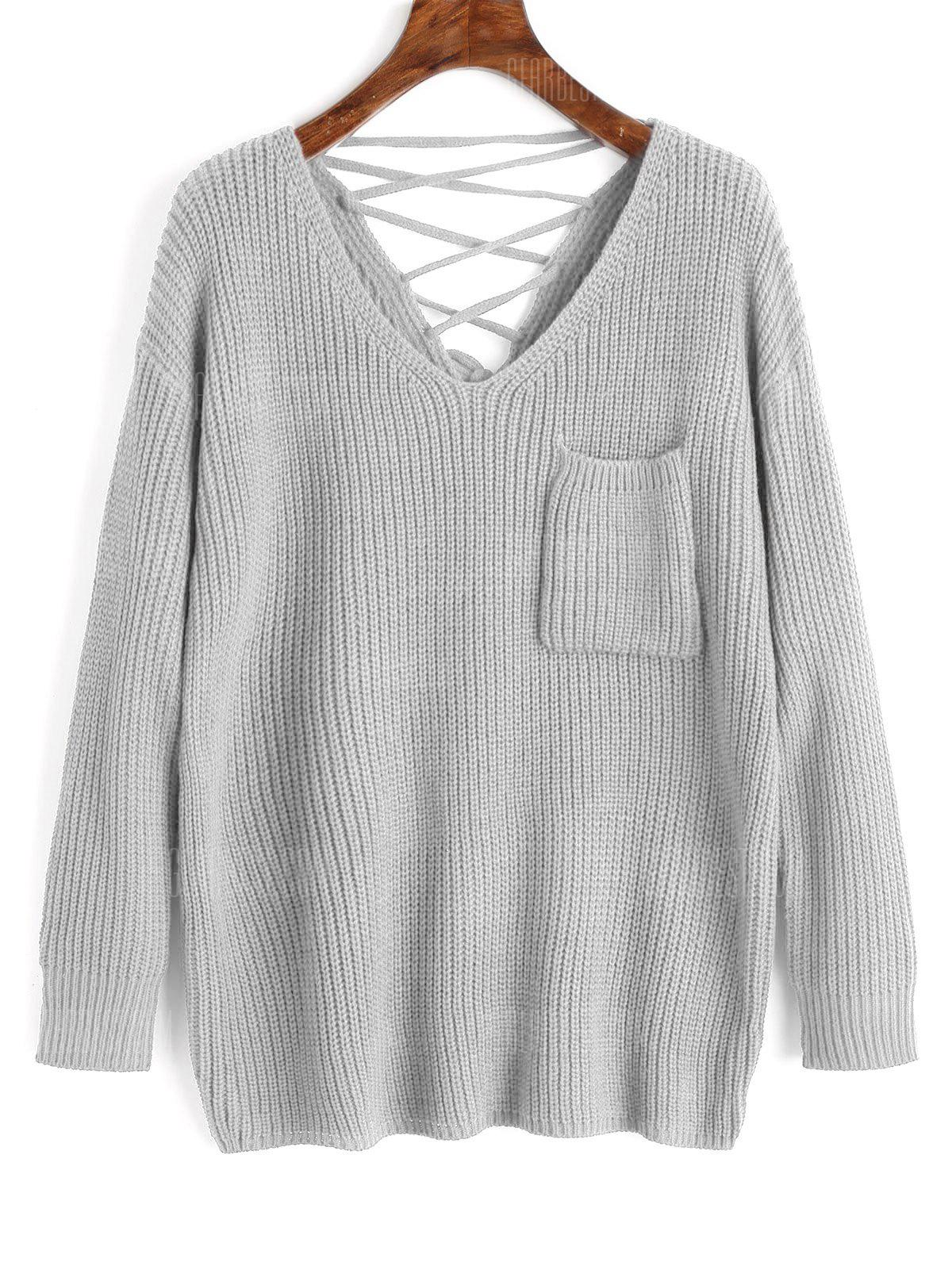 Lace Up Back V Neck Pullover Sweater