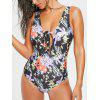 Floral Leaf Printed One Piece tiefem Ausschnitt Bademode - COLORMIX