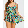 Skirted Floral Plus Size Tankini Swimwear - COLORMIX