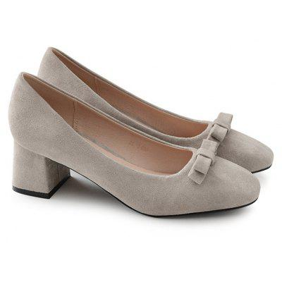 Block Heel Bow Faux Suede Pumps