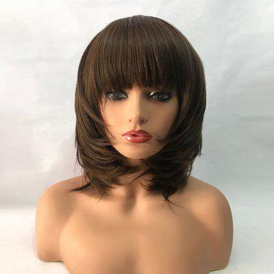 Medium Full Bang Layered Tail Adduction Straight Synthetic Wig