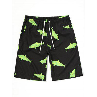 Shadow Print Shark Shorts de Drawstring