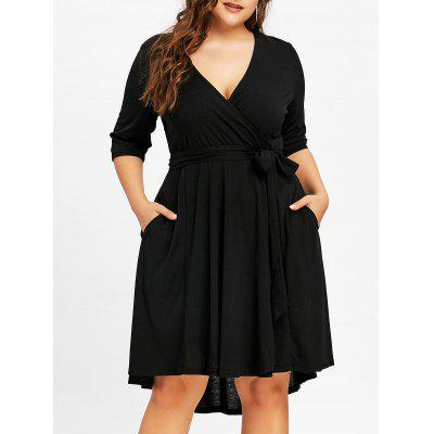 Plus Size Surplice High Low Belted Dress