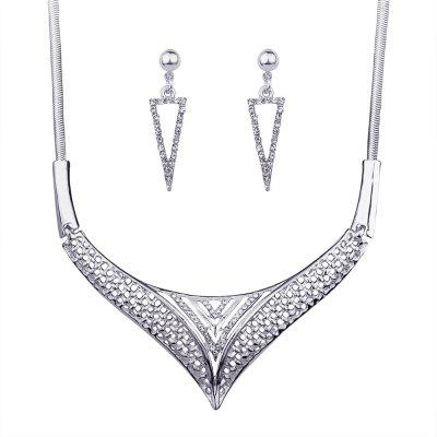 Vintage Alloy Rhinestone Embellished Necklace Earrings Set