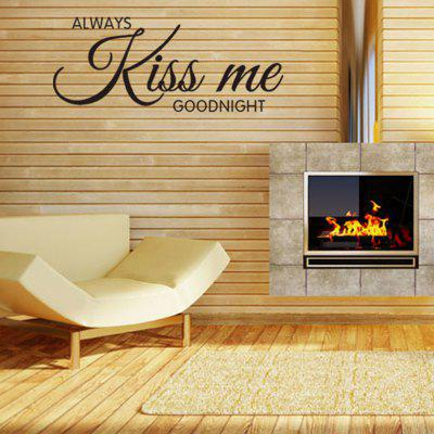 Always Kiss Me Goodnight Letters Pattern Wall Decal