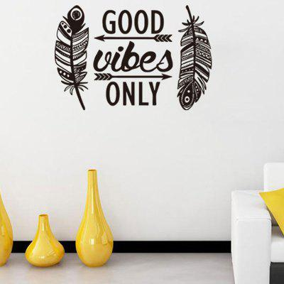 Feathers Arrows Good Vibes Only Letters Pattern Wall Sticker